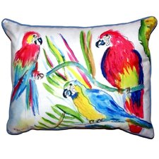 Three Parrots Outdoor Lumbar Pillow