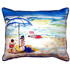Children at the Beach Outdoor Lumbar Pillow