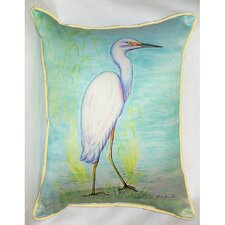 Coastal Snowy Egret Indoor/Outdoor Lumbar Pillow