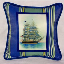 Coastal Whaling Ship Indoor/Outdoor Throw Pillow
