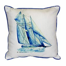 Fresh Coastal Sailboat Indoor/Outdoor Throw Pillow
