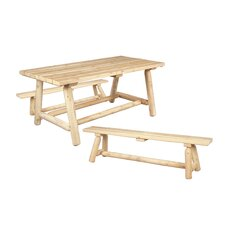 Classic Cedar Farmer's Table and Bench Set