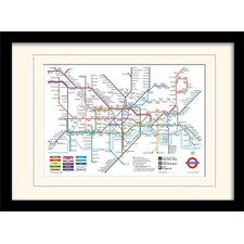 London Underground Map Mounted Framed Graphic Art