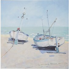 Two Moored Boats by Jane Hewlett Canvas Wall Art