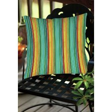 Comparison Aqua Bloom Stripes Indoor/Outdoor Throw Pillow