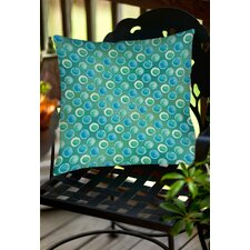 Aqua Bloom Dots Indoor/Outdoor Throw Pillow