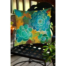 Aqua Bloom Blooms Indoor/Outdoor Throw Pillow
