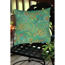 Aqua Bloom Paisley Indoor/Outdoor Throw Pillow
