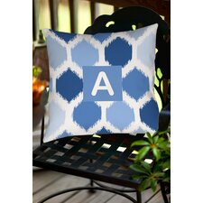Batik Monogram Indoor/Outdoor Throw Pillow
