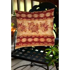 Damask Floral Stripes Indoor/Outdoor Throw Pillow