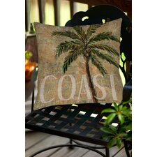 Coastal Palm Postcard Indoor/Outdoor Throw Pillow