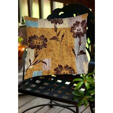 Floral Study in Blocks Indoor/Outdoor Throw Pillow