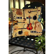 Guitar Collage Cream Indoor/Outdoor Throw Pillow