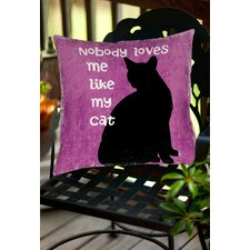 Nobody Loves Me Like My Cat Indoor/Outdoor Throw Pillow
