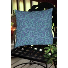 Funky Florals Swirl Pattern Indoor/Outdoor Throw Pillow
