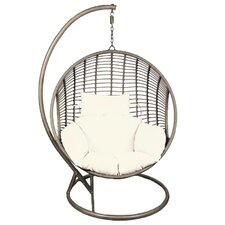 Pe Rattan and Steel Frame Hanging Chair with Cushion