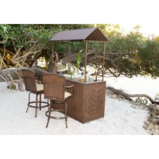 3 Piece Tiki Bar Set with Cushions