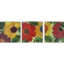 Floral Anemone Garden 3 Piece Painting Print Set