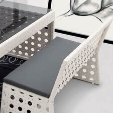 Happy Hour Resin Wicker Dining Bench with Back