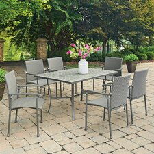 Umbria Concrete Tile 7 Piece Dining Set