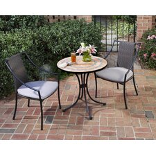 Terra Cotta 3 Piece Bistro Set with Cushions
