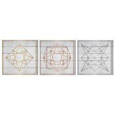 'Geometric Figures White' 3 Piece Graphic Art Print Set on Wood