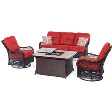 Orleans Woven 4 Piece Deep Seating Group with Cushions
