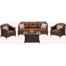 #1 Gramercy 4 Piece Fire Pit Deep Seating Group with Cushions