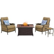 Hudson Square 4 Piece Fire Pit 2 Person Seating Group with Cushions