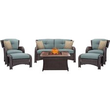 Strathmere 6 Piece Fire Pit Lounge Seating Group with Cushions