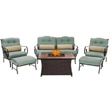 Oceana LP Gas Fire Pit 6 Piece Lounge Seating Group with Cushions