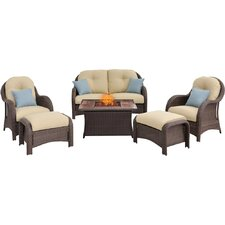 Newport 6 Piece Fire Pit Deep Seating Group with Cushions