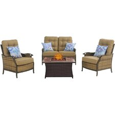 Hudson Square 4 Piece Fire Pit Lounge Seating Group with Cushions