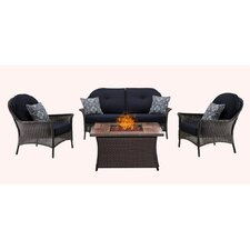 Wonderful San Marino 4 Piece Fire Pit Lounge Seating Group with Cushions