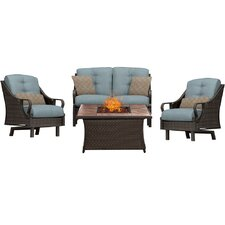 Ventura 4 Piece Fire Pit Deep Seating Group with Cushions