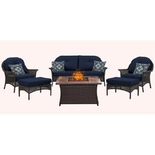 San Marino 6 Piece Fire Pit Lounge Seating Group with Cushions