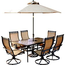 Amazing Monaco 7 Piece Dining Set with Table Umbrella and Umbrella Stand
