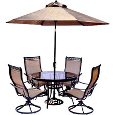 Today Sale Only Monaco 5 Piece Dining Set with Table Umbrella and Umbrella Stand