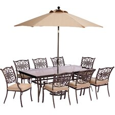 Traditions 9 Piece Dining Set with Cushions
