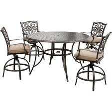 Read Reviews Traditions 5 Piece Bar Set with Cushions