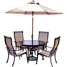 Bargain Monaco 5 Piece Dining Set with Table Umbrella and Base