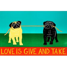 Love is Give and Take by Stephen Huneck Graphic Art on Canvas in Blue and Green