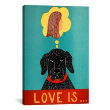 Love Is Dog Girl Black by Stephen Huneck Painting Print on Wrapped Canvas