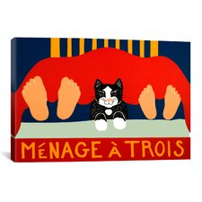 Menage A Trois Black Cat by Stephen Huneck Graphic Art on Wrapped Canvas