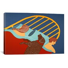 Hogging the Bed Chocolate by Stephen Huneck Painting Print on Wrapped Canvas