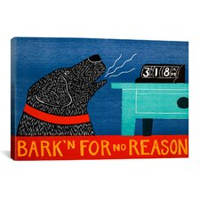 Stephen Huneck Barkin For No Reason Black Painting Print on Wrapped Canvas