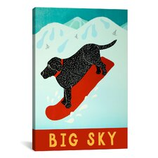 Stephen Huneck Big Sky Snowboard Black Painting Print on Wrapped Canvas