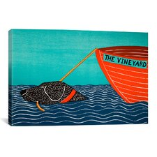Stephen Huneck Boat Mv Black Painting Print on Wrapped Canvas