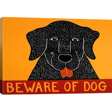 Beware of Dog Black by Stephen Huneck Painting Print on Wrapped Canvas