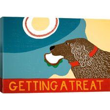 Getting a Treat Sand/Chocolate Dog by Rock Demarco Painting Print on Wrapped Canvas